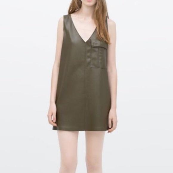c646488df50a Zara Dresses | Faux Leather Vneck Mini Dress | Poshmark